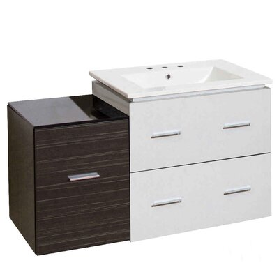 Hinerman 38 Wall-Mounted Single Bathroom Vanity Set Base Finish: White/Dawn Gray, Faucet Mount: 8 Centers