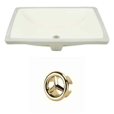 Ceramic Rectangular Undermount Bathroom Sink with Overflow Drain Finish: Gold