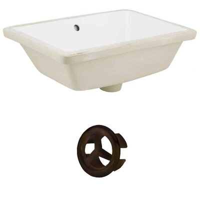 Ceramic Rectangular Undermount Bathroom Sink with Overflow Drain Finish: Oil Rubbed Bronze, Sink Finish: White