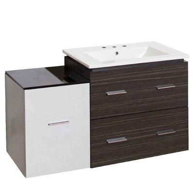 Hinerman 38 Wall-Mounted Single Bathroom Vanity Set Base Finish: Dawn Gray/White, Faucet Mount: 8 Centers