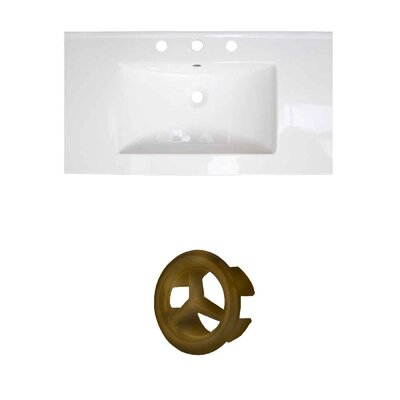 37 Single Bathroom Vanity Top Faucet Mount: 8 Centers, Drain Color: Gold