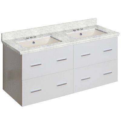 Phoebe Drilling Wall Mount 48 Double Bathroom Vanity Set Base Finish: White, Top Finish: Bianca Carara, Sink Finish: Biscuit