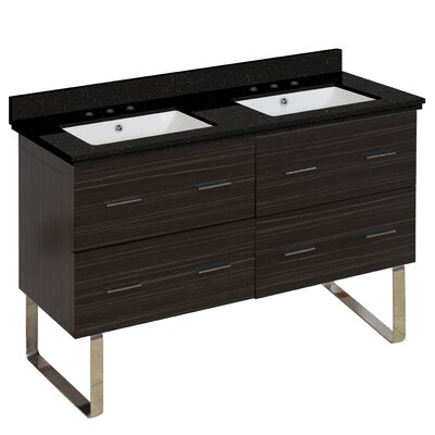 Phoebe 4 Drawers Drilling Floor Mount 48 Double Bathroom Vanity Set Base Finish: Dawn Gray, Top Finish: Black Galaxy, Sink Finish: Biscuit