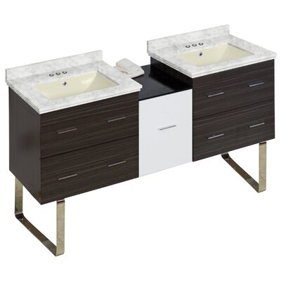 Phoebe Chrome Handles Drilling Floor Mount 62 Double Bathroom Vanity Set Base Finish: White/Dawn Gray, Top Finish: Bianca Carara, Sink Finish: Biscuit