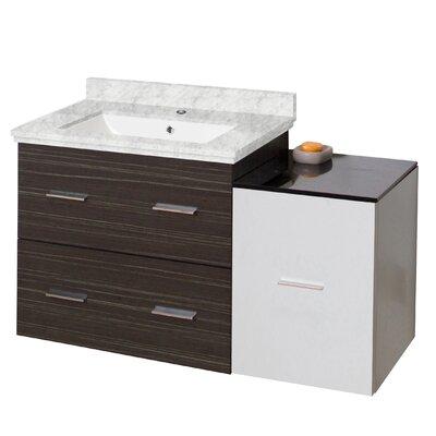 Phoebe Drilling Wall Mount 38 Single Bathroom Vanity Set with Handles Top Finish: Bianca Carara, Sink Finish: White