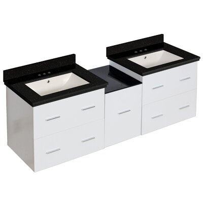 Phoebe Drilling Wall Mount 62 Double Bathroom Vanity Set Base Finish: White, Sink Finish: Biscuit