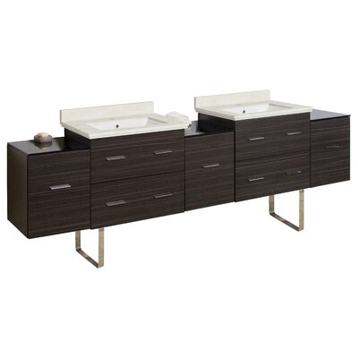 Phoebe Drilling Floor Mount 89 Double Bathroom Vanity Set Base Finish: Dawn Gray, Top Finish: Beige, Sink Finish: White