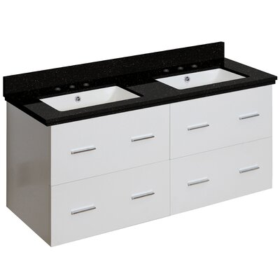 Phoebe Drilling Wall Mount 48 Rectangle Double Bathroom Vanity Set Base Finish: White, Top Finish: Black Galaxy, Sink Finish: White