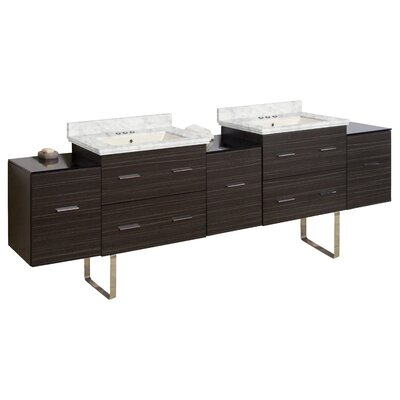 Phoebe Modern Handle Drilling Floor Mount 89 Double Bathroom Vanity Set Base Finish: Dawn Gray, Top Finish: Bianca Carara, Sink Finish: Biscuit
