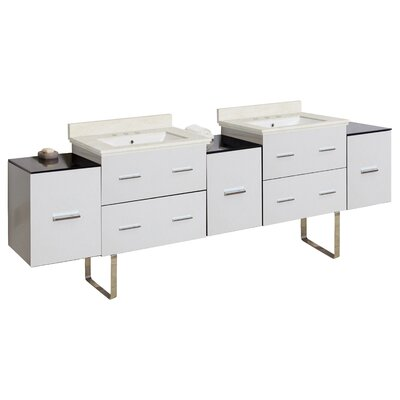 Phoebe Modern 7 Drawers Drilling Floor Mount 89 Double Bathroom Vanity Set Base Finish: White, Top Finish: Beige, Sink Finish: White