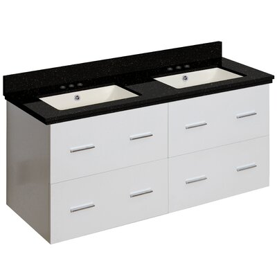 Phoebe Drilling Wall Mount 48 Double Bathroom Vanity Set Base Finish: White, Top Finish: Black Galaxy, Sink Finish: Biscuit