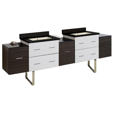 Phoebe Modern Drilling Floor Mount 89 Double Rectangle Bathroom Vanity Set Sink Finish: Biscuit, Faucet Mount: Single Hole