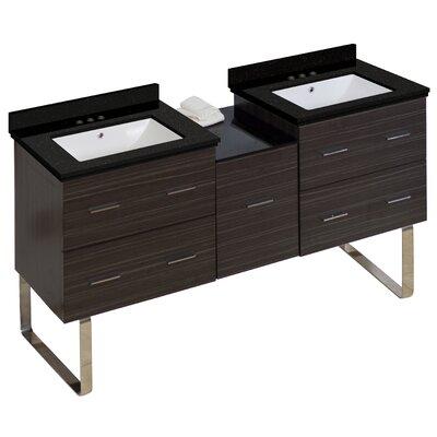 Phoebe Handles Drilling Floor Mount 62 Double Rectangle Bathroom Vanity Set Base Finish: Dawn Gray, Sink Finish: White
