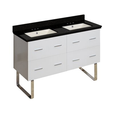 Phoebe Modern Drilling Floor Mount 48 Double Bathroom Vanity Set Base Finish: White, Top Finish: Black Galaxy, Sink Finish: Biscuit