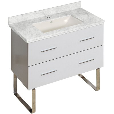 Phoebe Modern Drilling Floor Mount 36 Single Bathroom Vanity Set Base Finish: White, Top Finish: Bianca Carara, Sink Finish: Biscuit