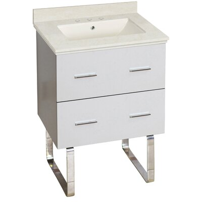 Phoebe Drilling Floor Mount 24 Single Rectangle Bathroom Vanity Set Top Finish: Beige, Sink Finish: Biscuit, Faucet Mount: 8 Centers