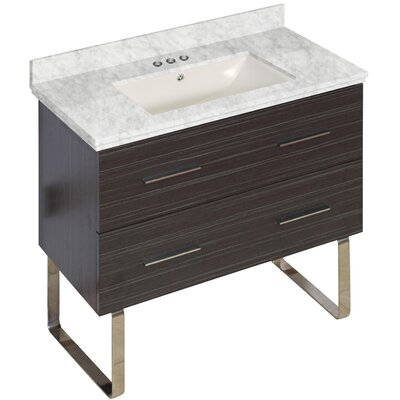 Phoebe Marble Top Drilling Floor Mount 36 Single Bathroom Vanity Set Base Finish: Dawn Gray, Top Finish: Bianca Carara, Sink Finish: Biscuit