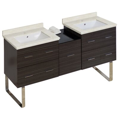 Phoebe Handles Drilling Floor Mount 62 Double Bathroom Vanity Set Base Finish: Dawn Gray, Top Finish: Beige, Sink Finish: White