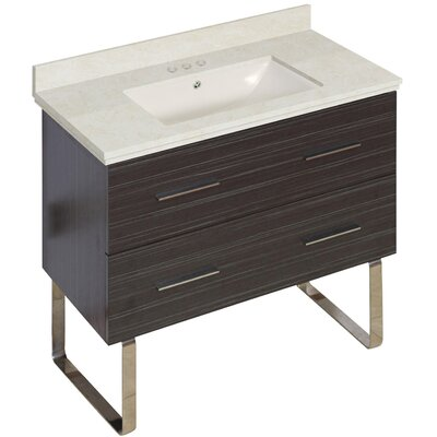 Phoebe Marble Top Drilling Floor Mount 36 Single Bathroom Vanity Set Base Finish: Dawn Gray, Top Finish: Beige, Sink Finish: Biscuit