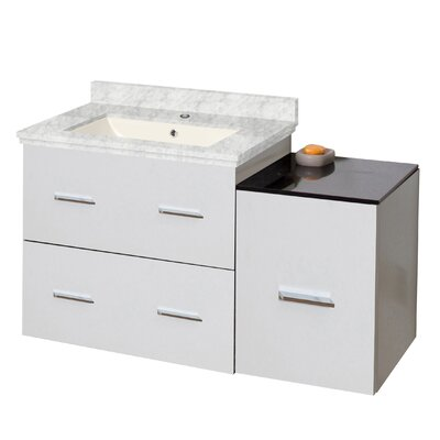 Phoebe Drilling Wall Mount 38 Single Bathroom Vanity Set with Drawers Base Finish: White, Top Finish: Bianca Carara, Sink Finish: Biscuit