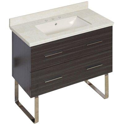 Phoebe Drilling Floor Mount 36 Single Rectangle Bathroom Vanity Set Base Finish: Dawn Gray, Top Finish: Beige, Sink Finish: Biscuit