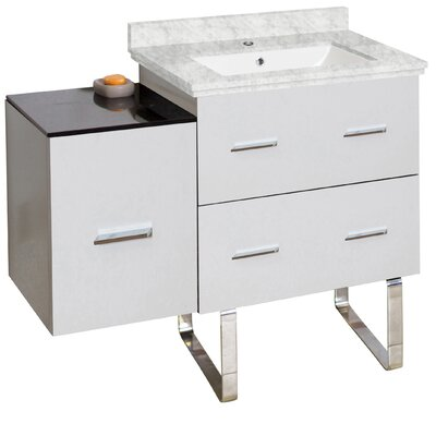 Phoebe Handles Drilling Floor Mount 38 Single Right Bathroom Vanity Set Base Finish: White/Dawn Gray, Top Finish: Bianca Carara, Sink Finish: White