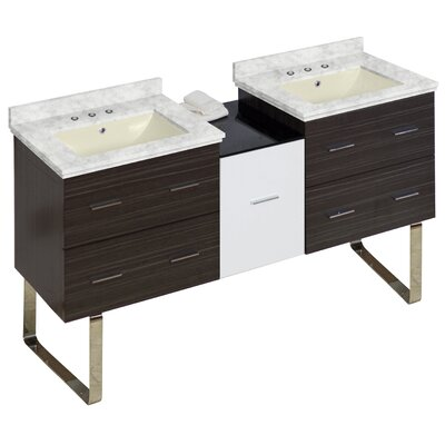Phoebe Modern 5 Drawers Drilling Floor Mount 62 Double Bathroom Vanity Set Base Finish: White/Dawn Gray, Top Finish: Bianca Carara, Sink Finish: Biscuit