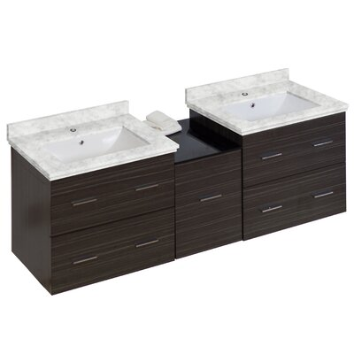 Phoebe Drilling Wall Mount 62 Kiln Dried Ceramic Top Double Bathroom Vanity Set Base Finish: Dawn Gray, Top Finish: Bianca Carara, Sink Finish: White