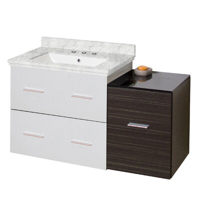 Phoebe Drilling Wall Mount 38 Kiln Dried Ceramic Top Single Bathroom Vanity Set with Handles Base Finish: White/Dawn Gray, Top Finish: Bianca Carara, Sink Finish: White