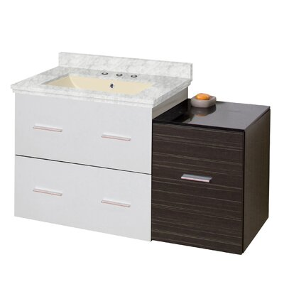 Phoebe Drilling Wall Mount 38 Kiln Dried Ceramic Top Single Bathroom Vanity Set with Handles Base Finish: White/Dawn Gray, Top Finish: Bianca Carara, Sink Finish: Biscuit