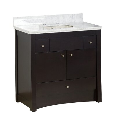Hardenburgh Transitional Drilling Floor Mount 36 Single Bathroom Vanity Set Top Finish: Bianca Carara, Sink Finish: Biscuit, Faucet Mount: 8 Centers