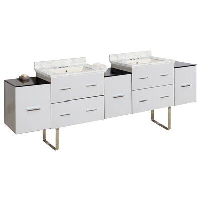Phoebe Modern Handle Drilling Floor Mount 89 Double Bathroom Vanity Set Base Finish: White, Top Finish: Bianca Carara, Sink Finish: Biscuit