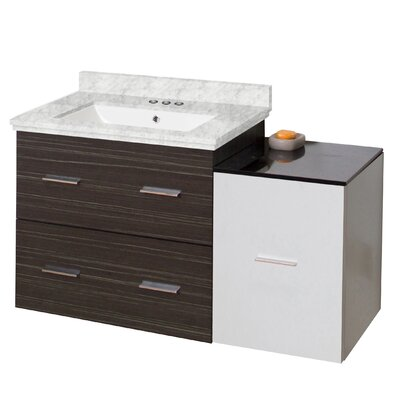 Phoebe Drilling Wall Mount 38 Single Bathroom Vanity Set Top Finish: Bianca Carara, Sink Finish: White