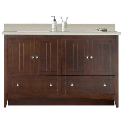 Artic Modern 59 Plywood-veneer Single Bathroom Vanity Set Sink Finish: White, Faucet Mount: 4 Centers