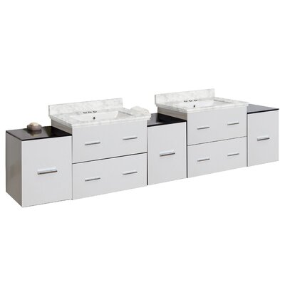 Phoebe Drilling Wall Mount 89 Double Bathroom Vanity Set with Drawers Base Finish: White, Top Finish: Bianca Carara, Sink Finish: White