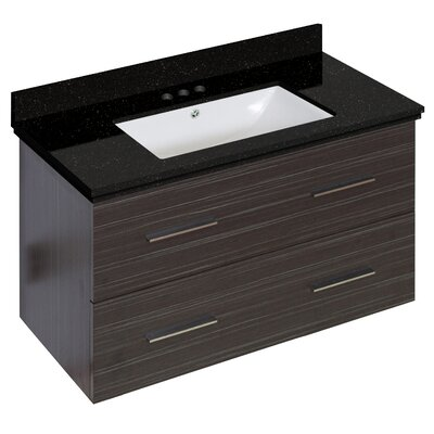 Phoebe Drilling Wall Mount 36 Wood Frame Single Bathroom Vanity Set Base Finish: Dawn Gray, Sink Finish: White, Faucet Mount: 4 Centers