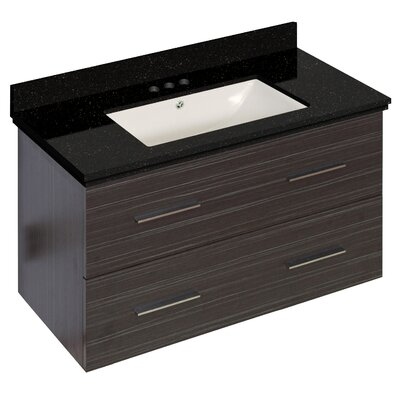 Phoebe Drilling Wall Mount 36 Wood Frame Single Bathroom Vanity Set Base Finish: Dawn Gray, Sink Finish: Biscuit, Faucet Mount: 4 Centers