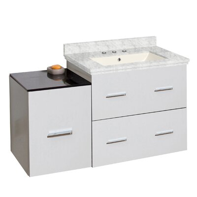 Phoebe Drilling Wall Mount 38 Wood Frame Single Bathroom Vanity Set with Undermount Sink Base Finish: White, Top Finish: Bianca Carara, Sink Finish: White