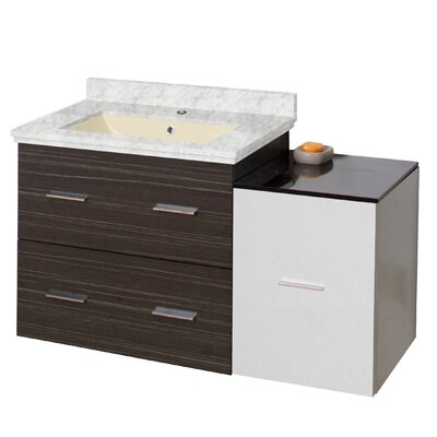Phoebe Drilling Wall Mount 38 Single Bathroom Vanity Set with Handles Top Finish: Bianca Carara, Sink Finish: Biscuit