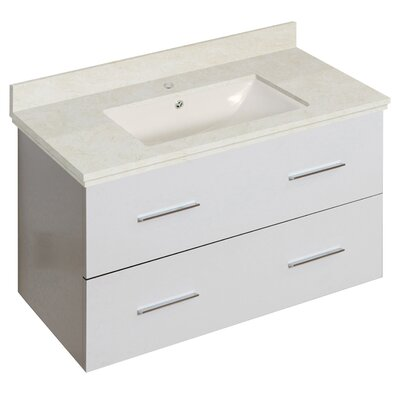 Phoebe Drilling Wall Mount 36 Rectangle Single Bathroom Vanity Set Base Finish: White, Top Finish: Beige, Sink Finish: Biscuit