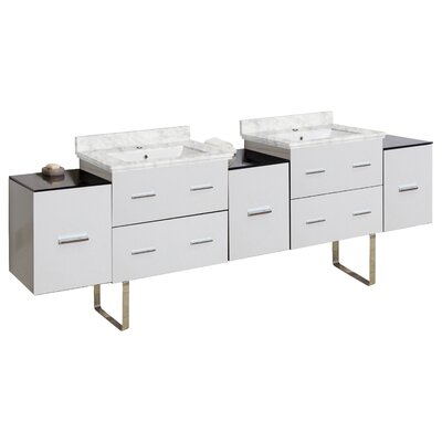 Phoebe Drilling Floor Mount 89 Double Bathroom Vanity Set Base Finish: White, Top Finish: Bianca Carara, Sink Finish: White
