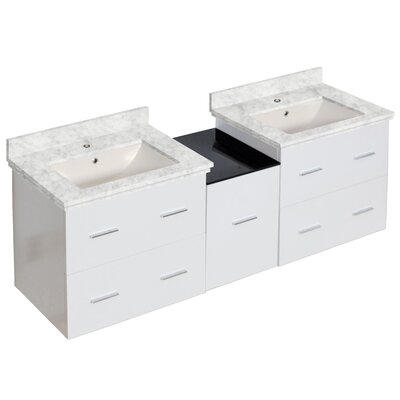 Phoebe Drilling Wall Mount 62 Kiln Dried Ceramic Top Double Bathroom Vanity Set Base Finish: White, Top Finish: Bianca Carara, Sink Finish: Biscuit