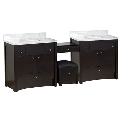 Hardenburgh European Drilling Floor Mount 93 Double Bathroom Vanity Set Top Finish: Bianca Carara, Sink Finish: White, Faucet Mount: 4 Centers