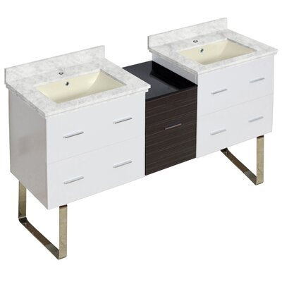 Phoebe Handles Drilling Floor Mount 62 Double Bathroom Vanity Set Base Finish: White/Dawn Gray, Top Finish: Bianca Carara, Sink Finish: Biscuit