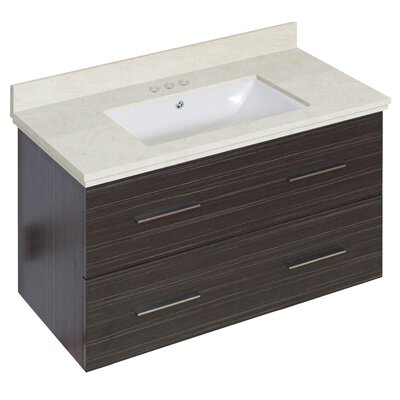 Phoebe Drilling Wall Mount 36 Rectangle Single Bathroom Vanity Set with Handles Base Finish: Dawn Gray, Top Finish: Beige, Sink Finish: White