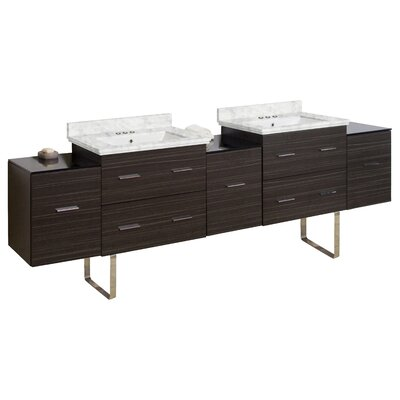 Phoebe Modern Handle Drilling Floor Mount 89 Double Bathroom Vanity Set Base Finish: Dawn Gray, Top Finish: Bianca Carara, Sink Finish: White