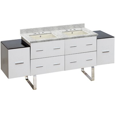 Phoebe Drilling Floor Mount 75 Double Bathroom Vanity Set Top Finish: Bianca Carara, Sink Finish: Biscuit, Faucet Mount: 8 Centers