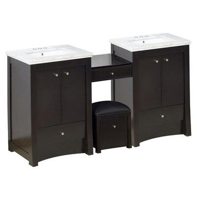 Hardenburgh Drilling Floor Mount 69 Double Bathroom Vanity Set Top Finish: Bianca Carara, Sink Finish: White, Faucet Mount: 4 Centers