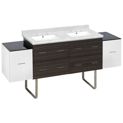 Phoebe Drilling Floor Mount 76 Double Bathroom Vanity Set Sink Finish: White, Faucet Mount: 8 Centers, Top Finish: Bianca Carara