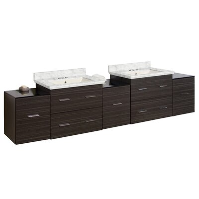 Phoebe Drilling Wall Mount 89 Double Bathroom Vanity Set with Drawers Base Finish: Dawn Gray, Top Finish: Bianca Carara, Sink Finish: Biscuit